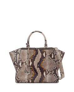 Fendi Trois-Jour Mini Python Shopping Tote Bag Neutral   Buy replica  watches ca41139d36272