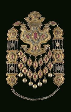 Uzbekistan ~ Bukhara | Equestrian pectoral pendant; gilt silver with large agate (carnelian) stones and turquoise | 19th / 20th century