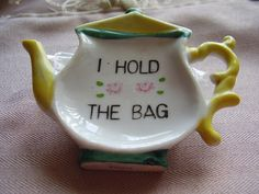 Vintage Tea Pot tea Bag Holder by VintageSite on Etsy, $3.50