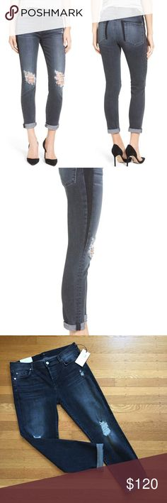 """7 For All Mankind Josefina Crop Boyfriend Jeans 28 This is a brand new with tags pair of 7 for all Mankind Josephina Cropped Boyfriend Jeans in hard-to-find """"Black Shadow"""" color.  They are Size 28.    You can find detailed measurements in the photos. 7 For All Mankind Jeans Ankle & Cropped"""