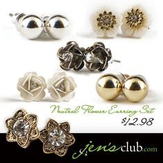 "Neutral Flower Earring Set From Regal      This versatile earring collection gives you all the accents you'll need for a stylish spring and summer!  Solid studs, matched with a variety of floral designs  featuring faux rhinestones and a neutral colour scheme. (Various sizes: 1/4"", 1/2"" and 3/8""Diam.)  Product Number - JC1017"