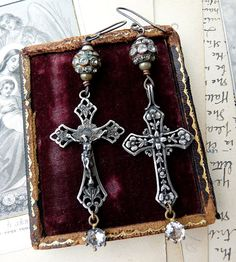 French Rosary Crucifix Earrings Antique by RusticGypsyCreations, $110.00