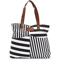 Everyday Sunday Cara Striped Beach Bag ($34) ❤ liked on Polyvore featuring bags, handbags, black, pocket purse, striped beach tote bag, black purse, zippered beach bag and striped purse