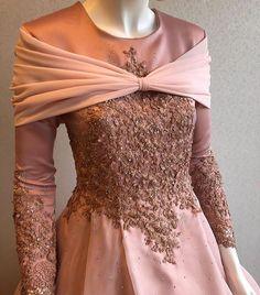 It looks like Aurora's hecking dress. Dress Brukat, Kebaya Dress, Dress Pesta, Dress Outfits, Muslim Gown, Kebaya Muslim, Muslim Wedding Dresses, Batik Fashion, Abaya Fashion
