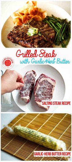 "Grilled Steak Recipe with Garlic-Herb Butter - Turning ""Choice"" steak into Gucci ""Prime"" steak! Grilled Steak Recipes, Grilled Meat, Grilling Recipes, Garlic Recipes, Beef Recipes, Cooking Recipes, Healthy Recipes, Cooking Tips, Vegetarian Recipes Dinner"