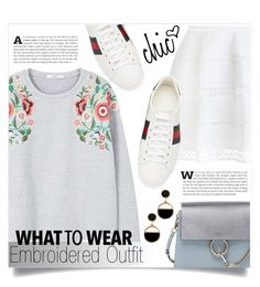"""""""Embroidered Outfit"""" by keziatmrskasrf ❤ liked on Polyvore featuring Zimmermann, MANGO, Gucci, Chloé and Warehouse"""
