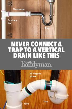 """When a trap connects to a vertical drain, install a tee fitting. A """"sanitary tee"""" gives the waste arm a slight downward slope, enough for good flow, but not enough to create a siphon."""