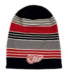 0a82b31b628 Detroit Red Wings NHL Vintage Jersey Stripe Cuffless Knit Reebok Beanie Hat  Cap