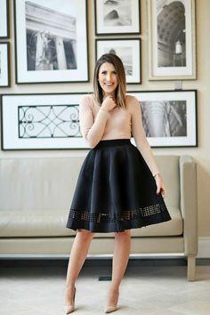 Nude dress & black skater skirt