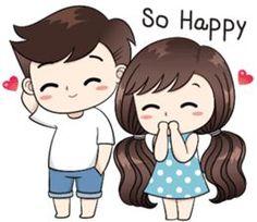 Boobib lovely couple - Stiker LINE Love Cartoon Couple, Chibi Couple, Cute Cartoon Pictures, Cute Cartoon Girl, Anime Love Couple, Cute Love Gif, Cute Love Pictures, Cute Couple Drawings, Cute Drawings