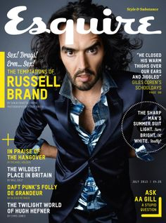 Russell Brand on the front cover of Esquire magazine Magazine Layout Design, Magazine Cover Design, Russell Brand Quotes, Magazine Front Cover, Magazine Covers, Esquire Uk, Gq, Gossip Blog, Uk Magazines