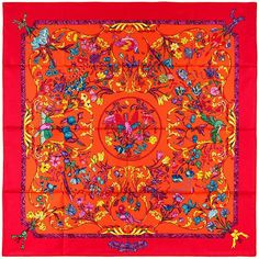 New Authentic Hermes Silk Scarf Pierres D'Orient Et D'Occident Pauwels Red | eBay