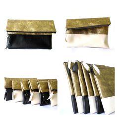 Foldover clutch purse Gold Cream Black Vegan Leather by byMART, $34.00