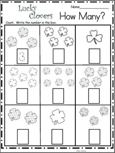 Free Math Worksheet - How Many Clovers?