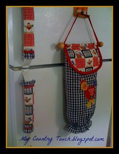 for inspiration - grocery bag holder and fabric fridge door handles
