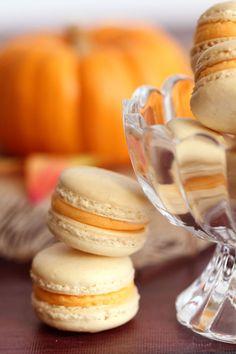 Pumpkin Buttercream Macarons | Easy homemade vanilla macarons with smooth, creamy pumpkin buttercream.