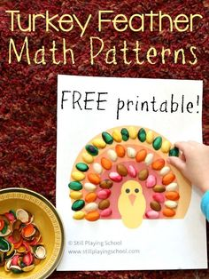 Thanksgiving Turkey Feathers Pattern Sheet from Still Playing School Creative Activities For Kids, Preschool Learning Activities, Math For Kids, Autumn Activities, Crafts For Kids, Preschool Math, Number Activities, Fall Crafts, Toddler Activities