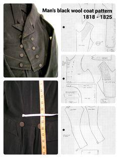 1818 - 1825 Men's black wool coat pattern taken from extant garment.