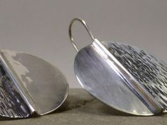 Dual Texture Fold Formed Silver Earrings