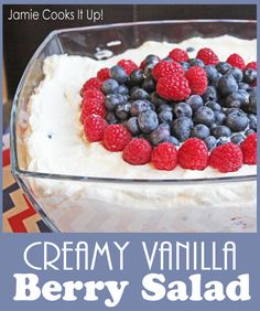 Creamy Vanilla Berry Salad from Jamie Cooks It Up! Would be great between angelfood cake and frozen!!!