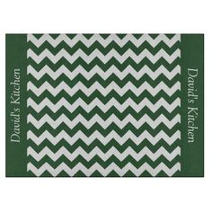 Hunter Green Chevron Glass Cutting Board ...........This design features a Hunter Green Chevron pattern. The TEXT on both sides (left and right) can be customized with your own name. Check out my store for more colors