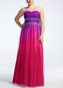 Make a striking statement in this fun and flirty prom dress!  Strapless bodice features eye-catching beaded midriff.  Charmeuse ombre fabric is vibrant and fashion forward.  Fully lined. Back zip. Imported polyester. Professional spot clean only. Cool iron when needed, no steam. Also available in Missy sizes as Style 54175.