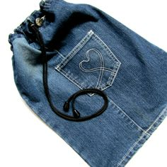 Recycled Denim Library Bag