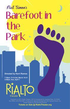 Image result for barefoot in the park poster Rialto Theater, Barefoot In The Park, Branding, Poster, Image, Brand Management, Identity Branding, Billboard