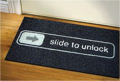 Tapetes Capachos Slide To Unlock Iphone Ipad Apple Cool Doormats, Funny Doormats, Haha, Unlock Iphone, Iphone 2g, Take My Money, Welcome Mats, Do It Yourself Home, Geeks