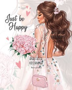 "Анастасия Косьянова on Instagram: ""I'm back 🙌🏻💕 New illustration❤️Just be Happy 😍 For my shop @kosyanova_shop 🙌🏻 —————— Image protected by copyright. Иллюстрация защищена…"""