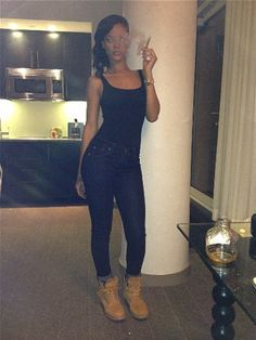 I love everything about Rihanna's Timberland boots.She makes me want a pair.