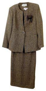 Olivianne Olivianne Three-Piece Brown Tweed Skirt Ensemble