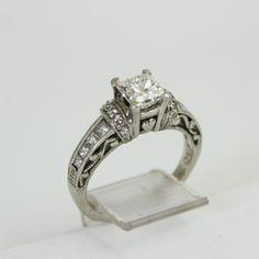 vintage TACORI platinum 1.4 ct princess cut diamond engagement wedding ring.
