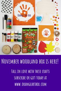 Crafts for kids, November Orange Art Box - Occupy your loved ones this holiday season with a November Orange Art Box! Create Colorful Scratch Leaves, Adorn Your Wooden Tree, Decorate Wood Slices, and so much more. Art Crafts, Arts And Crafts, Art For Kids, Crafts For Kids, Foam Paint, Orange Art, Wooden Tree, Toddler Art, Paint Drying