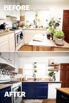 A paint refresh is the key to a kitchen makeover that's renovation-free. Mix neutral uppers with bold lowers, like Dark Navy from Behr Paint, for an upgraded look. Click this pin to find your perfect bold paint color! #Sponsored by Behr
