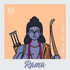Rama is the incarnation of the God Vishnu, and next to Krishna, he is considered to be his most important avatar (manifestation of a deity). Janmashtami Images, Indian Art Gallery, Mythological Characters, Indian Illustration, Cute Sketches, Lord Vishnu Wallpapers, Simple Portrait, Cosmos, Cute Paintings