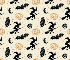 Bats and Jacks ~ Black and Orange on Cream fabric by retrorudolphs on Spoonflower - custom fabric