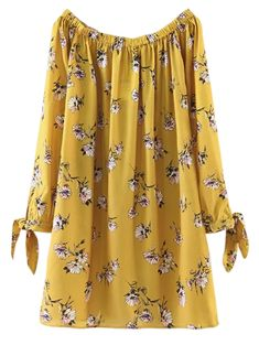 Floral Off Shoulder Shift Dress - YELLOW M Style: Casual Occasions: Causal Material: Cotton Blend Silhouette: Straight Dress Type: Tunic Dress Dresses Length: Mini Collar-line: Off The Shoulder Sleeves Length: Long Sleeves Pattern Type: F Trendy Dresses, Cute Dresses, Casual Dresses, Fashion Dresses, Cute Outfits, Floral Dresses, Vintage Dresses, Casual Wear, Clothing Patterns