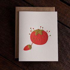 Tomato Pincushion Letterpress Greeting Card by Rise and Shine Letterpress