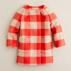 ++ collarless buffalo check coat