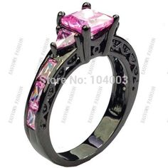 Size 6/7/8/9/10 Women Fashion Jewelry Rings Pink Sapphire 10KT Black Gold Filled Rings Free Shipping E2461-in Rings from Jewelry on Aliexpress.com   Alibaba Group