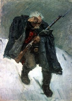 Surikov, Vasily Old Russian Soldier Descending from Snowy Mt, 1898 Snowy Mountains, Impressionist Art, Art Database, Sketch Painting, Oil Painting Reproductions, Russian Art, Drawing People, Figurative Art, My Images