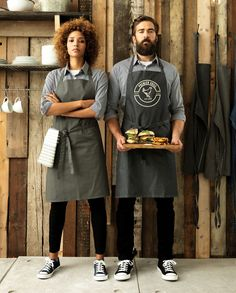 PR150 & PR126 Aprons teamed with Black & White Microcheck Gingham Shirts