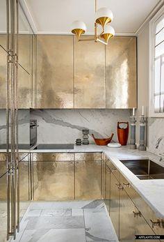 { gold kitchen } Parisian Apartment of Decorator Jean-Louis Deniot