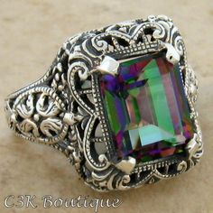 'Sz.6/7 4CT Enhanced Mystic Quartz Antique Deco 925 Ring' is going up for auction at 10pm Sat, Apr 13 with a starting bid of $15.