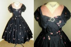 1950s SILK Navy and Pink Floral Organza Party Dress