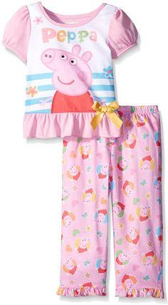 Peppa Pig Toddler Girls 2 Piece Pant Set, Pink, 4T