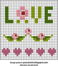 Pez Calcetin ® | Creaciones bonitas para el Bienestar ♥ plantilla punto de cruz. Shabby chic. cross stich pattern. love. roses. Bordados.