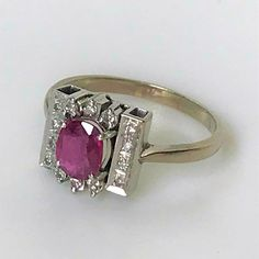 White Gold, Pink Tourmaline and Diamond Ring Pink Tourmaline, Round Cut Diamond, White Gold Rings, Fine Jewelry, Jewellery, Vintage Jewelry, Anniversary, Engagement Rings, Antiques