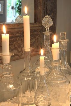 I love the use of old decanters for candlesticks. Candle Lanterns, Diy Candles, Pillar Candles, Church Candles, White Candles, Light My Fire, Light Up, Home Decoracion, Bottles And Jars